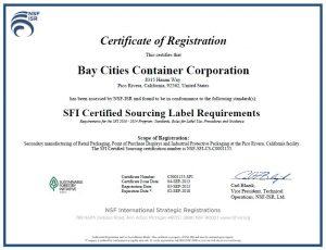 Bay Cities SFI Certificate 2013-2018