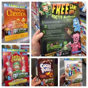 Interactive packaging example with cereal box